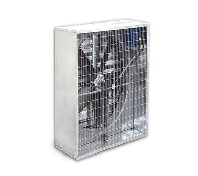 هواکش مرغداري به قطر پروانه ۱۰۰ سانت و ابعاد بیرونی ۱۲۰*۱۲۰ بادمپر اتوماتیک گالوانیزه وحفاظ پشت